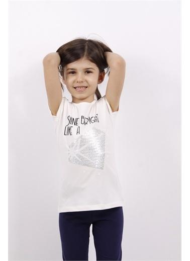 Toontoy Toontoy Kız Çocuk Elmas Taş Nakışlı Tişört Ekru
